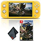Nintendo Switch Lite (Yellow) Gaming Console Bundle with Monster Hunter Rise Game and Cleaning Cloth