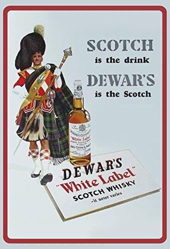 Generisch blikken bord 20x30cm Dewar ~s White Label Scotch whisky reclame bord nostalgie