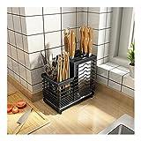 Cesta de cubiertos para cuchillos, tenedores, cucharas, soporte para cubiertos para almacenamiento de cocina y bloque de cuchillos, bloque universal de cuchillos sin cuchillos, acero inoxidable (1)