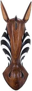 Deco 79 Wood Zebra Mask, 20 by 7-Inch