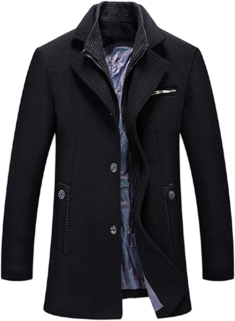 Men Wool Coats Business Thick Mens Coats And Jackets Turn Collar Overcoat Zipper Peacoat Khaki Blue Black