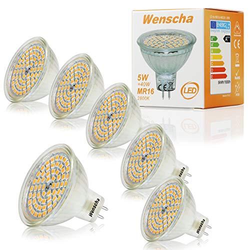 MR16 LED Warmweiss, Wenscha 6er MR16 GU5.3 12V LED Lampe, 5W Warmweiß 2800K Ersetzt 40W Halogenlampe, Kein Stroboskopeffekt, 400Lumen Birne Leuchtmittel, 120° Abstrahwinkel Spot, Nicht Dimmbar