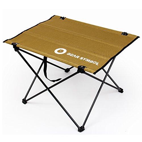 TRIWONDER Faltender kampierender Tisch, ultraleichter beweglicher Roll-Oben Oxford-Stoff Picknicktisch für im Freien, Wandern, BBQ, Picknick, Fischen (Kamel - 22
