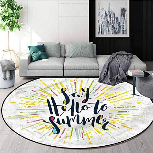 Great Deal! Yellow Modern Simple Round Rug,Say Hello to Summer Quote Study Super Soft Carpet Diamete...