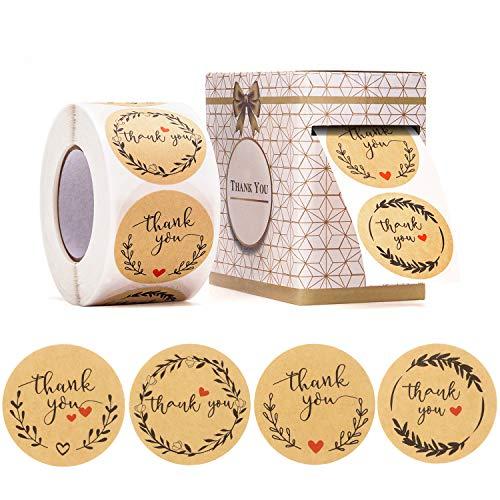 500 Piezas Pegatinas Gracias, Thank You Stickers, Fansjoy 4 Diseños Pegatinas Kraft...