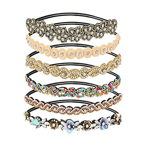 LINGSFIRE Banda para el cabello hecha a mano de 6 piezas, diadema elástica con cuentas de diamantes de imitación diadema con cuentas de cristal para mujeres accesorios para el cabello diadema (Color2)