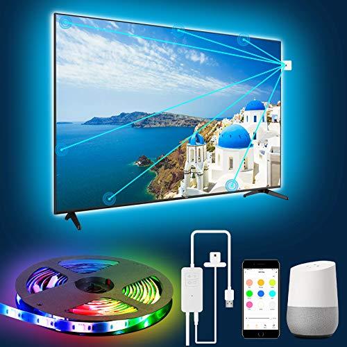 LEOEU - Striscia LED per retroilluminazione TV, RGB 3M, Wi-Fi TV con fotocamera, APP controllabile, compatibile con Alexa Google Assistant, per TV da 46-60 pollici e PC