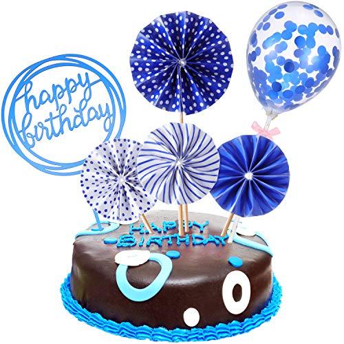 Set Happy Birthday Topper per Torte Ventagli di Carta Coriandoli Palloncino Cupcake Acrilico Topper per Decorazione Torta di Compleanno (Blu Scuro)
