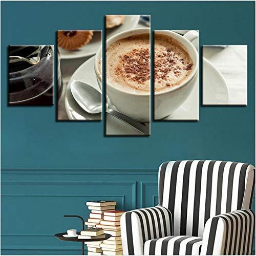 Wuyii canvas muurkunst afbeelding wooncultuur voor café restaurant 5 stuks koffie dranken schilderij Hd gedrukte lijst poster E 20 x 35 cm x 2/20 x 45 cm x 2/20 x 55 cm x 1