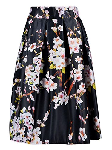 Choies Black Sakura Skater Skirt With Pleat One size