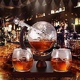 PaNt Decanter Per Whisky, Set Caraffa per Whisky a Forma di Barca a Vela Incasso In Borosilicato Antiscivolo con Quattro Bicchieri e Caraffa per Vino Bianco da 1000 Ml Classica Cremagliera In Legno