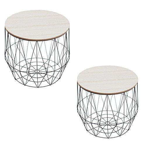 Set van 2 moderne salontafels bijzettafeltjes Staag zwart opbergvak met eiken plank bewaarmand met houten deksel deksel mand opbergen tafels