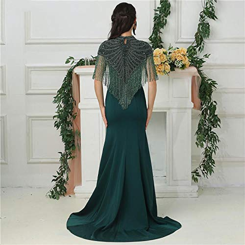DSFRWFS Design Green Sleeveless Evening Dresses Hoher Kragen Perlen Quaste Mit Wickel Abendkleider