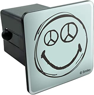 Graphics and More Smiley Peace Sign Eyes Face Tow Trailer Hitch Cover Plug Insert 2