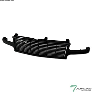 Topline Autopart Black Horizontal Front Hood Bumper Grill Grille ABS For 99-02 Chevy Silverado 1500/2500 / 00-06 Tahoe/Suburban