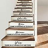 Escalier autocollant citation française vinyle sticker mural art salon décoration de la maison décoration