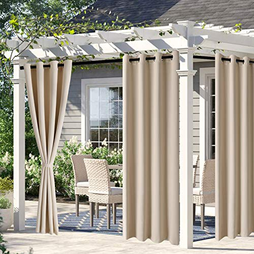 DWCN Waterproof Outdoor Curtains for Patio - 52 x 95 inches Long, Indoor Outdoor Thermal Insulated, Sun Blocking Grommet Blackout Curtains for Bedroom, Pergola, Porch and Cabana, Beige, 2 Panels