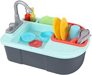 STOBOK Pretend Play Kitchen Sink Toys with Play Cooking Stove Pot Pan Dish Rack Tableware Kitchen Playset Toys for Kids Children