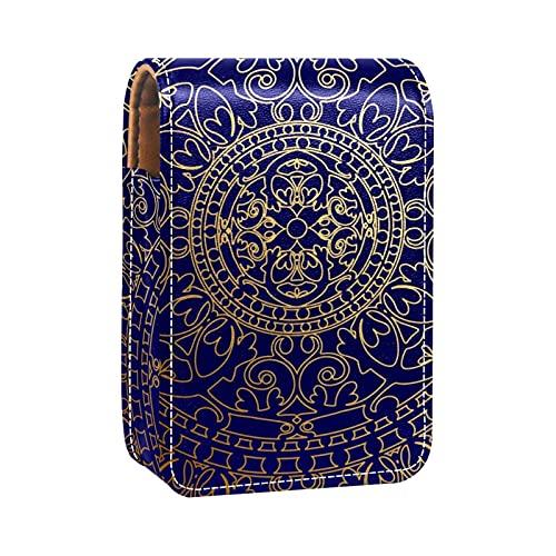 ColorMu Kleine Lippenstift-Tasche mit Spiegel aus Leder Orientalisches blaues und goldenes Hippie-Mandala
