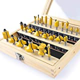 KOWOOD 24X Router Bits Set 1/4 Inch Shank Made of 45# Carbon Steel YG6x Alloy...