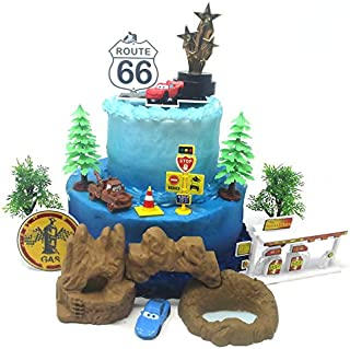 Cars Themed Radiator Springs Birthday Cake Topper Featuring McQueen, Mater and Sally with Decorative Accessories