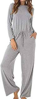 Womens Casual Jumpsuits Scoop Wide Legs Long Sleeve Romers Jumpsuit with Pockets