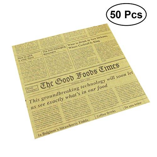 Clispeed 50 fogli di carta usa e getta wrapper Kraft carta da cucina fodere per alimenti cestini fodere per il fai-da-te tessuti tessuti da stampa carta da forno fogli