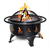 Fire Pits Outdoor Wood Burning - Portable 24' Quick Set Up Weather Resistant Easy to Clean Firepit w/ Grate, Heavy Duty Wood Poker, Fire Screen for Safety
