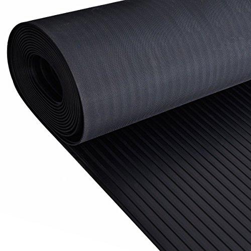 Rouleau de tapis en caoutchouc antidérapant et robuste, pour sol d'abri de jardin, van, garage, atelier, nervures, 120 x 400 cm