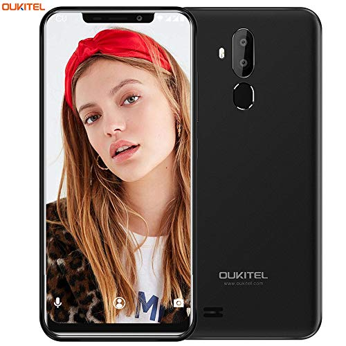 OUKITEL C12 Unlocked Cell Phone Smartphone, 6.18 inch 19:9 Full-Screen Display Android 8.1 Dual 3G SIM Free Mobile Phone,Quad-Core 2GB RAM+16GB ROM,8MP+2MP+5MP Cameras,Face ID+Fingerprint - Black