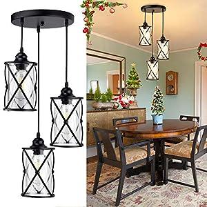 DLLT 3-Light Industrial Pendant Light, Black Metal Cage Hanging Chandelier Lights with Glass Shade, Vintage Style Flush Mount Swag Lighting Fixture for Kitchen/Dining Room/Hallway/Bedroom, E26 Base
