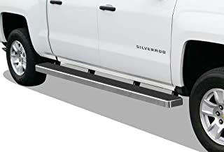 APS iBoard (Silver 5in Wheel to Wheel) Running Boards Nerf Bars Steps Compatible with 2007-2018 Chevy Silverado GMC Sierra Double Cab Extended Cab 6.5ft Bed & 2019 2500 HD 3500 HD (Exclude 07 Classic)