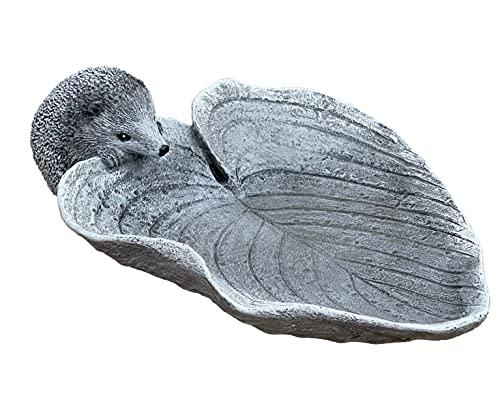 Stone and Style Vogeltränke Insektentränke Igel auf Blatt Steinguss frostfest