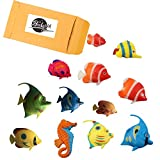 Brewish Artificial Lifelike Plastic Fish for Aquarium Tank Decorations Ornaments | Random Pattern Moving Floating Fishes Figurines Toy for Swimming in Bubble Tube