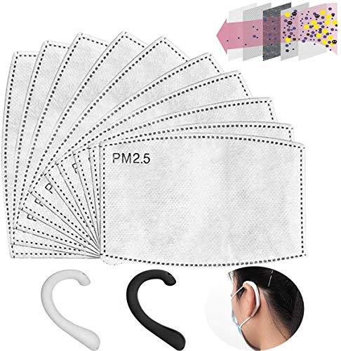 grneric 100Pezzi Filtro a Carbone Attivo PM2,5, 5 Strati sostituibili Anti-Appannamento,Filtro Protettivo per Bocca per Esterni