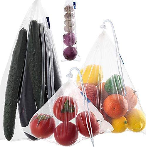 Reutilizables Ecológicas Bolsa de Malla,Bolsas Compra Reutilizables Ecológicas Bolsa de Malla para Almacenamiento Fruta Verduras Juguetes Lavable y Transpirable 4 Diversos Tamaños 10 Unidades.