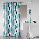 coton d'intérieur rideau a oeillets 140x240 cm coton leafy bleu