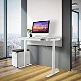 Seville Classics Airlift Electric Standing Desk with Drawer 2.4A USB Ports, 3 Memory Buttons, (Max. Height 47') Dual Motor Computer Table, Adjustable, Tempered Glass - White