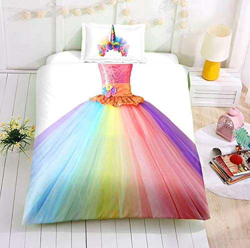 HDBUJ Rainbow Skirt Bedroom Dormitory Duvet Cover, Soft Polyester Fiber Material(Plus Two Pillowcases) ,Single Or Double 260X220Cm