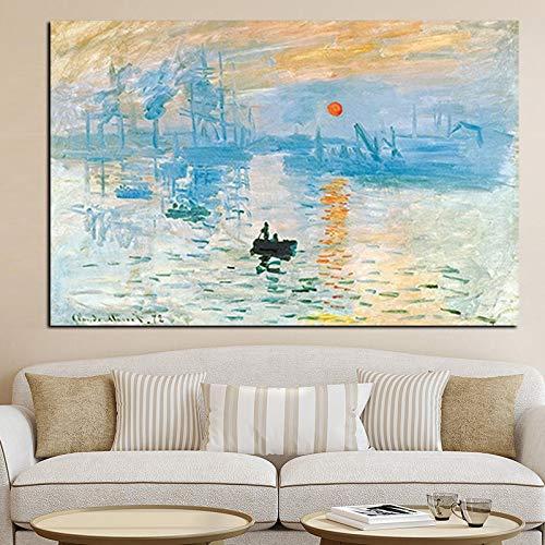 wZUN Impresión del Amanecer Paisaje Famoso Pintura al óleo Lienzo Arte Cartel Imprimir Cuadro de Pared de la Sala de Estar 60x90 Sin Marco
