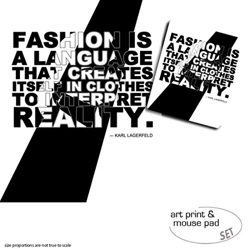 1art1 Mode, Fashion is A Language That Creates Itself In Clothes to Interpret Reality, Karl Lagerfeld 1 Poster Kunstdruck (50x40 cm) + 1 Mauspad (23x19 cm) Geschenkset