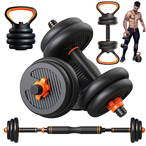 Adjustable Dumbbells, 44lbs Free Weights Dumbbells Set for Men and Women, Adjustable Kettlebell Kettle Bells Weight Sets Barbell Set with Weights Exercise & Fitness Dumbbells for Home Gym (Black-44Lb)
