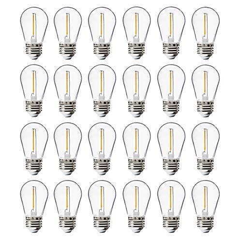24 Pack LED S14 Replacement Light Bulbs, FLSNT Shatterproof Waterproof 1W Outdoor String Light Bulbs,E26 Regular Base,2200K Warm White,CRI80,Non-Dimmable