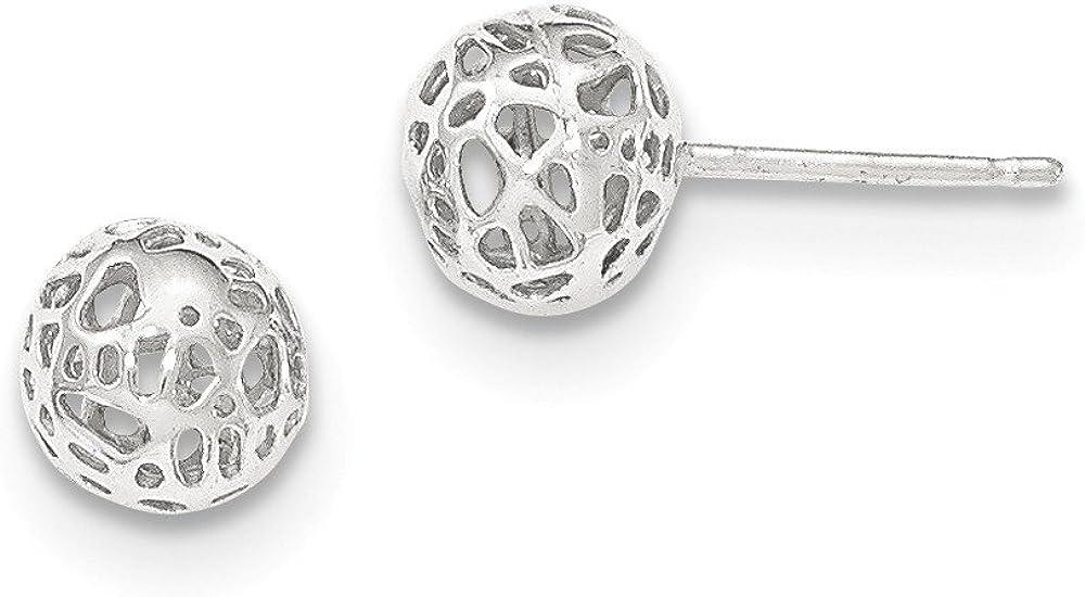 Jewels By Lux 14K White Gold Medium Fancy Ball Post Earrings