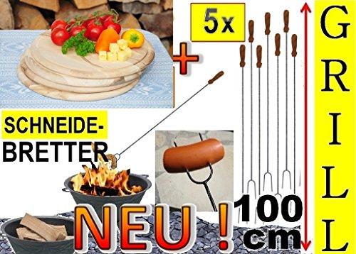 5 x Steakteller Picknick Grillbrett Holz Grill-Set+ 4 x Grillspiesse, 100cm lang, Spiesse Gabel-Spieß + massive Schneidebretter Picknick Geschirr, Servierplatte D 25cm, rund, Grillbrett Servierbrett für Wurst, Gemüse, Steak / Fleischplatte, Bruschetta, Raclette, Brotzeitbrett mit Griff, Picknick, Frühstücksbrett, Bayerisches Brotzeitbrettl, massives Schneidbrett, Anrichtebrett, Frühstücksbrett, Brotzeitbretter Picknick Steakteller