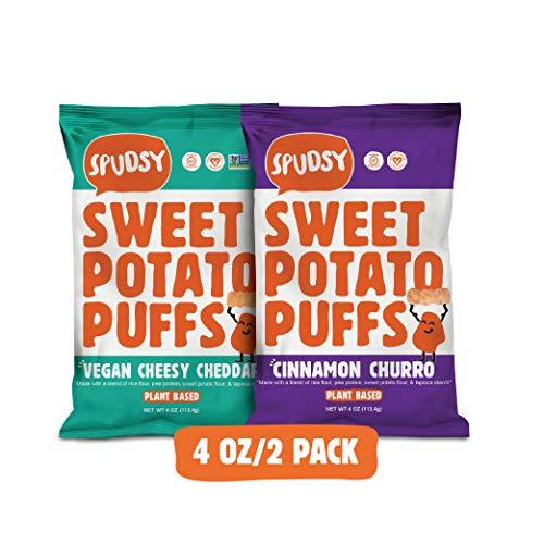 Spudsy Sweet Potato Puffs | Vegan, Gluten Free Snacks | Plant-Based, Allergen-free, Non-GMO, Superfood Snack | Cinnamon Churro + Vegan Cheesy Cheddar (2 Pack, 4 oz Bags)