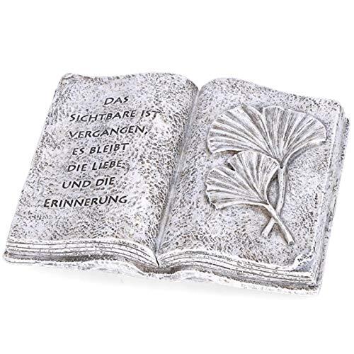 Trauer-Shop Buch aufgeschlagen mit Spruch. Das Sichtbare ist vergangen, es bleibt die Liebe und die Erinnerung.