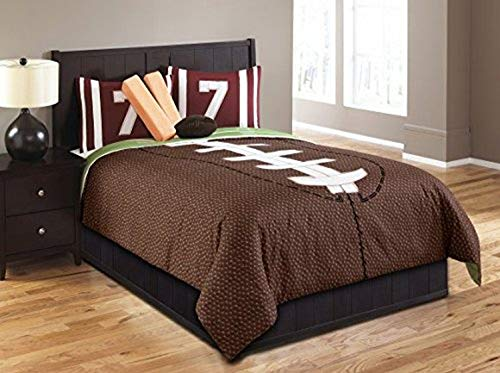 Riverbrook Home Peached Polyester Comforter Set, Full, Set of 6, Field Goal - Brown/Green, 6 Piece