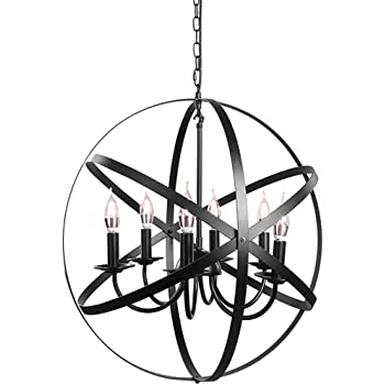 Farmhouse Chandelier Industrial Rustic Pendant Lighting Fixture for Dining Room, Kitchen , Foyer, Living Room, Bedroom (6-Light Black)