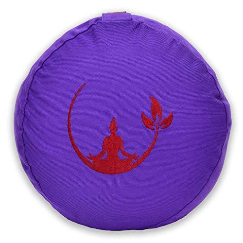 KlarGeist Cojín de meditación ergonómico y cojín de yoga, diseño de Buda de media luna lila, altura del asiento media (17-18 cm)